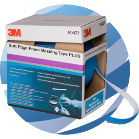3M™ Soft Edge Foam Masking Tape Plus, 7 mm x 21 mm x 7 m Roll (50421)